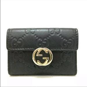 Gucci Shima interlocking GG leather 6 key case